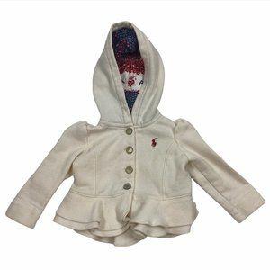 Ralph Lauren White Jacket, Baby Girl Size 9 Months
